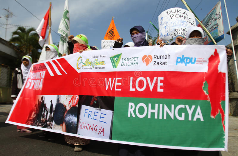 Rohingya Myanmar demonstracja w Indonesia obrazy stock