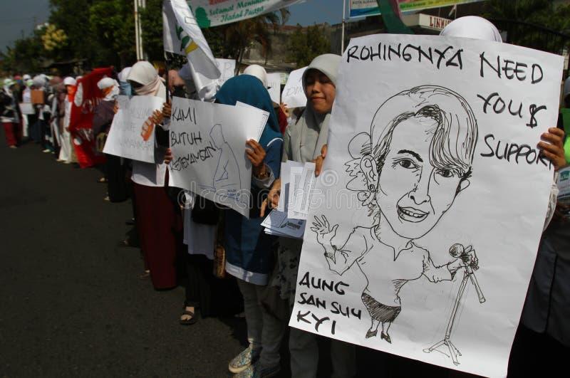 Rohingyamyanmar demonstratie in Indonesië royalty-vrije stock foto's