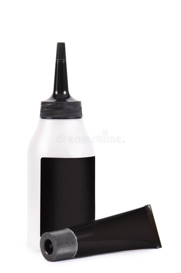 Rohr mit einer Farbe für Haar lizenzfreie stockfotos