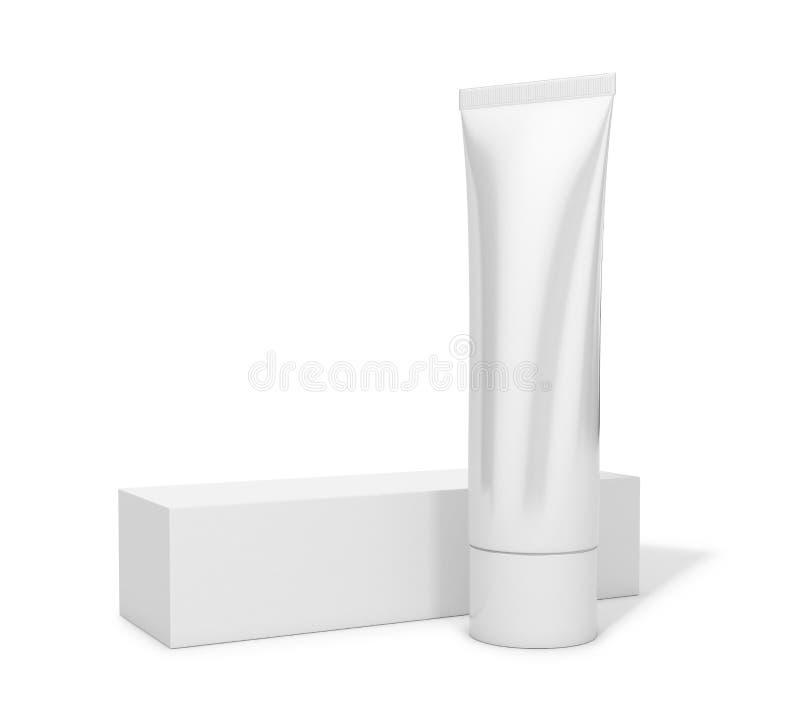 Rohr mit Sahne oder Zahnpasta lizenzfreie abbildung