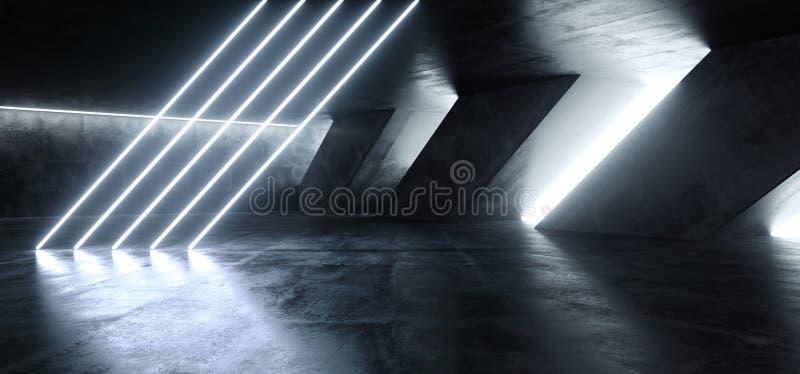 Rohr-Neon-glühende blaue weiße Lichter Sci FI Leuchtstoff gekippte enormer dunkler in der Zement-konkreter Schmutz-Untertagegarag lizenzfreie abbildung