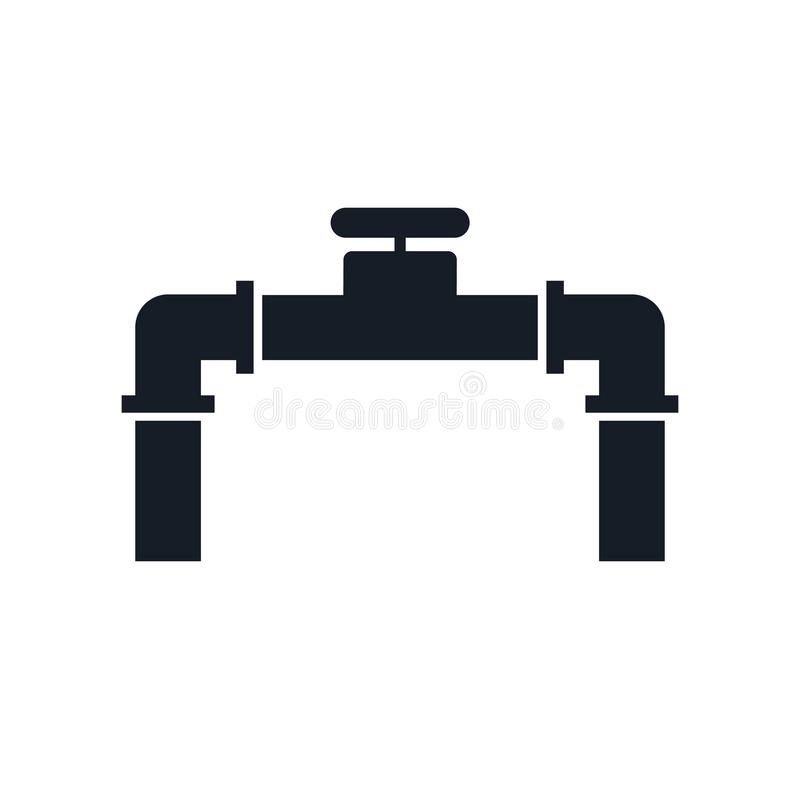 Rohrikonenvektorzeichen und -symbol lokalisiert auf weißem Hintergrund, Rohrlogokonzept lizenzfreie abbildung