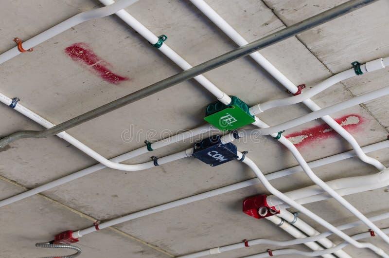 Rohrleitung auf Gebäudedecke stockbild