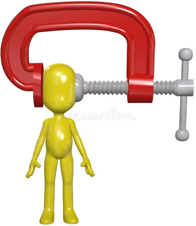 Rohrschellepressungpersonenkopfkopfschmerzen-Druckdruck stock abbildung