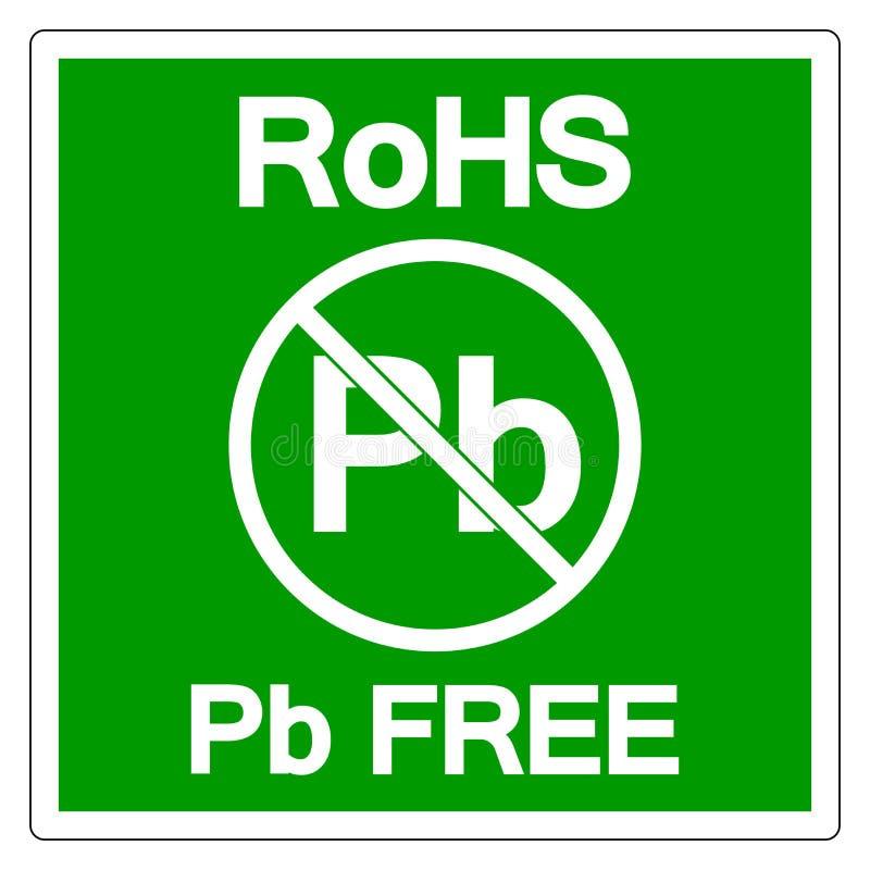 RoHS铅自由标志标志,传染媒介例证,在白色背景标签的孤立 EPS10 皇族释放例证