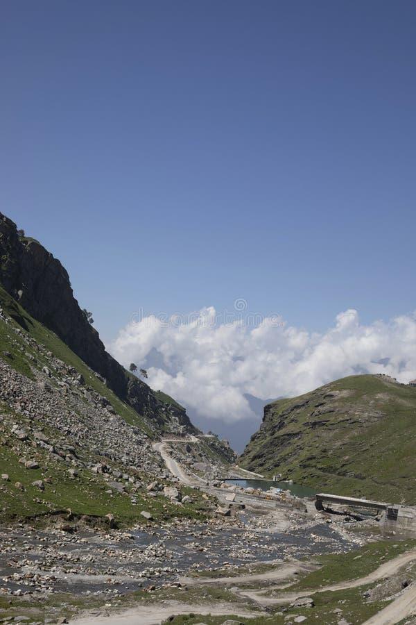 Rohtangpas, Himachal Pradesh, India Verbindt valleien van Himachal Pradesh, Manali en Lahaul en Spiti stock afbeeldingen