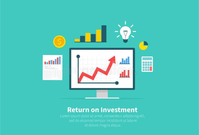 ROI,事务,赢利,计划,会计,分析的回收投资 平的动画片设计,传染媒介例证 向量例证
