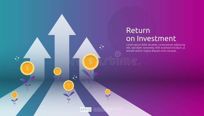 ROI,赢利机会概念的回收投资 : 与美元植物硬币的箭头,图表和 皇族释放例证