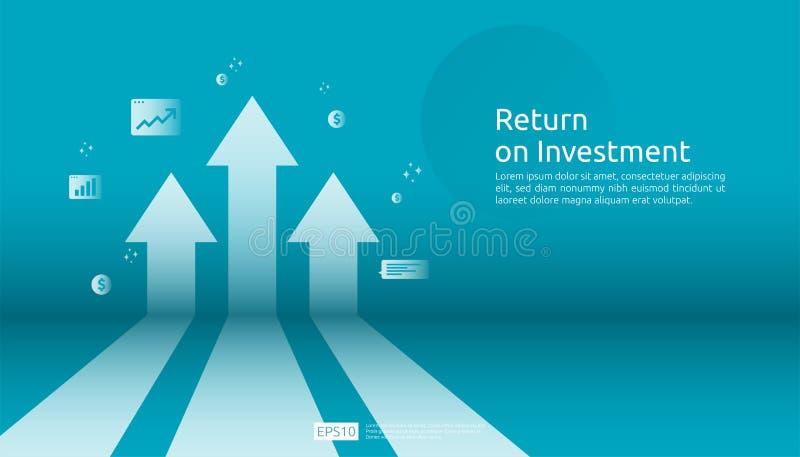 ROI,赢利机会概念的回收投资 : 与美元植物硬币的箭头,图表和 库存例证