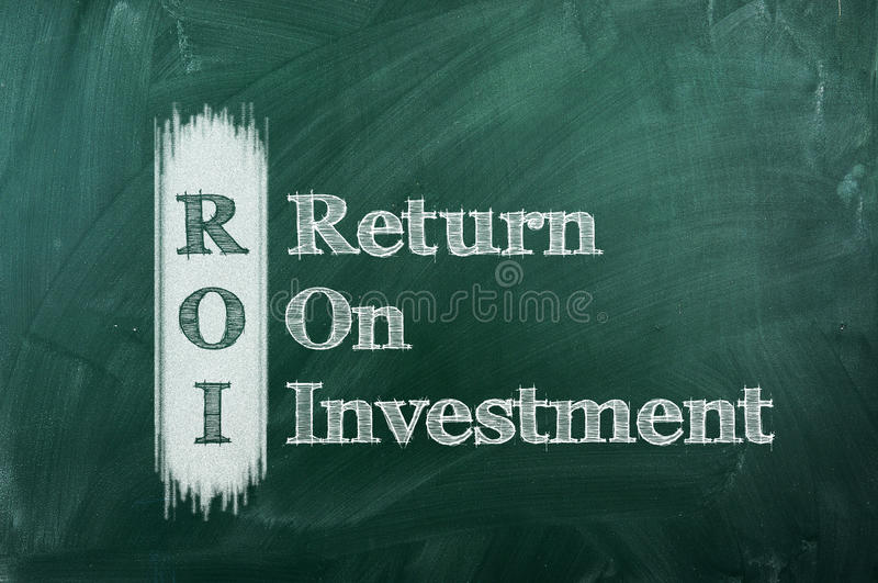 Roi. Acronym on green chalkboard Return On Investment royalty free stock image