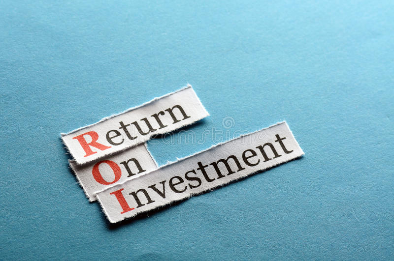 Roi abbreviation. ROI acronym on blue paper , Return On Investment stock images
