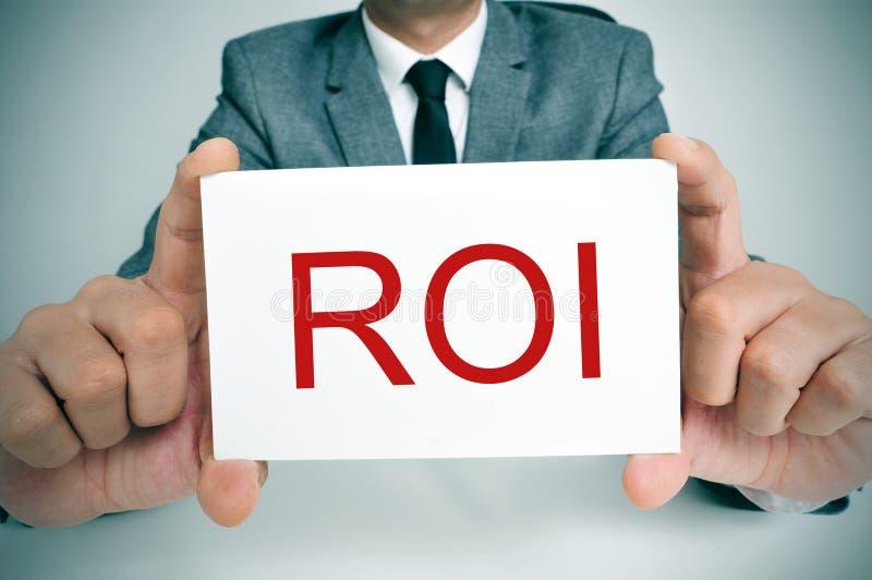 ROI, acroniem voor Rentevoet of Rendement van Investering stock afbeelding