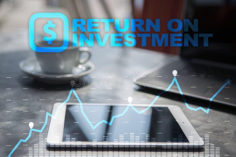 ROI, affaires de retour sur l'investissement et concept de technologie Fond d'écran virtuel illustration libre de droits