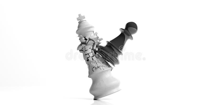 Roi blanc d'échecs cassé par un gage noir, d'isolement sur le fond blanc illustration 3D illustration libre de droits