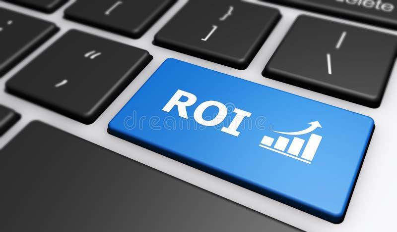 Roi Business Investment Computer Keyboard royaltyfri illustrationer