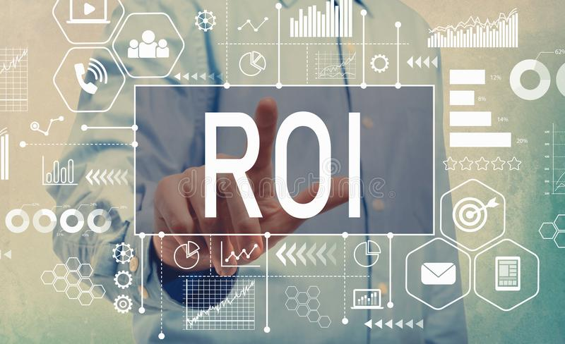 ROI with businessman. Pointing a digital screen stock images