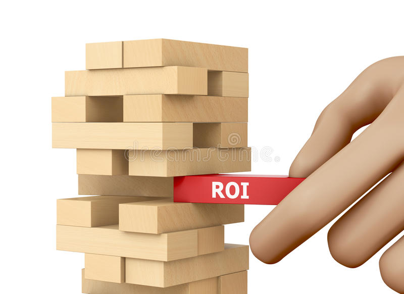 Roi. CONCEPT wood blocks 3d rendering royalty free stock images