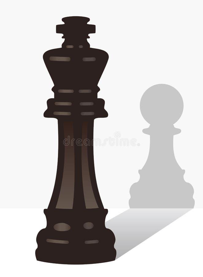 Roi d'échecs avec l'ombre d'un gage illustration de vecteur