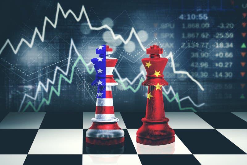 Roi d'échecs avec le drapeau de la Chine et des Etats-Unis illustration de vecteur