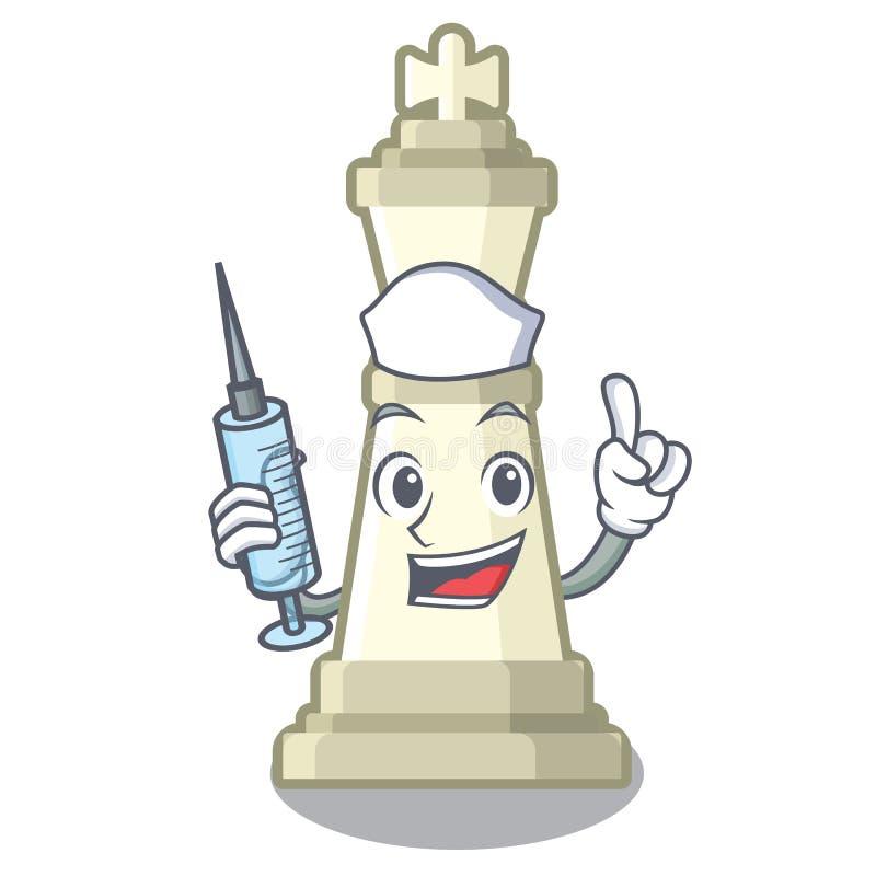 Roi d'échecs d'infirmière sur la mascotte illustration libre de droits