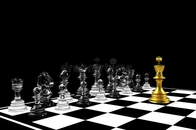 Roi d'or dans le jeu d'échecs avec l'équipe argentée sur le concert noir de direction de fond illustration de vecteur