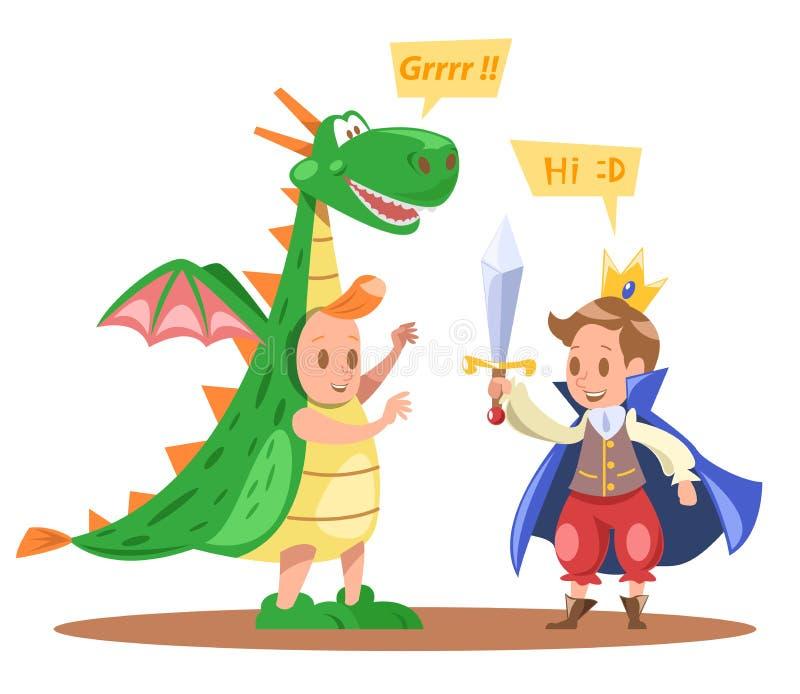 Roi d'enfants et conception de vecteur de caractères de dragon illustration libre de droits