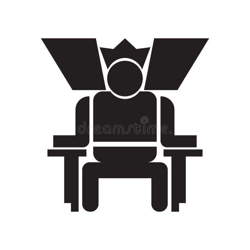 Roi dans son signe et symbole de vecteur d'icône de trône d'isolement sur le fond blanc, roi dans son concept de logo de trône illustration libre de droits