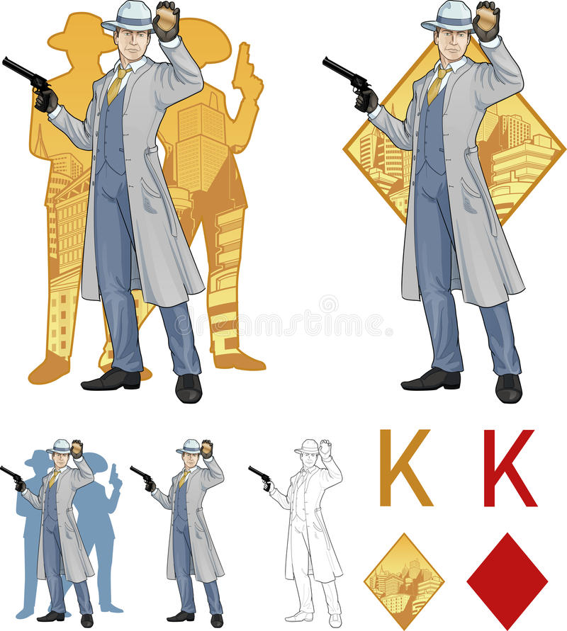Roi de chef et de personnes de police caucasiens de diamants illustration de vecteur