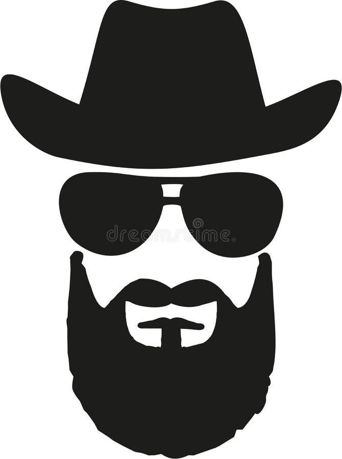 Roi de cowboy avec le chapeau occidental, les lunettes de soleil et la pleine barbe illustration stock