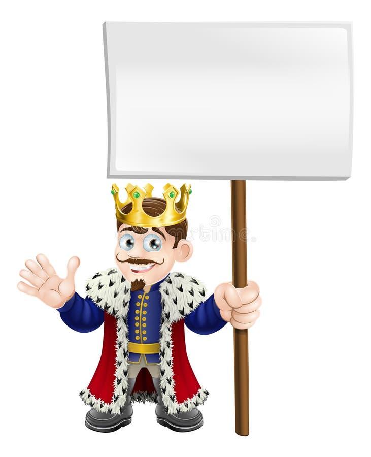Roi de dessin animé retenant un signe illustration de vecteur