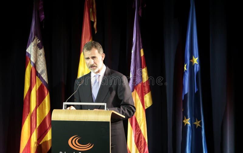 Roi de l'Espagne au discours en Majorque photographie stock libre de droits