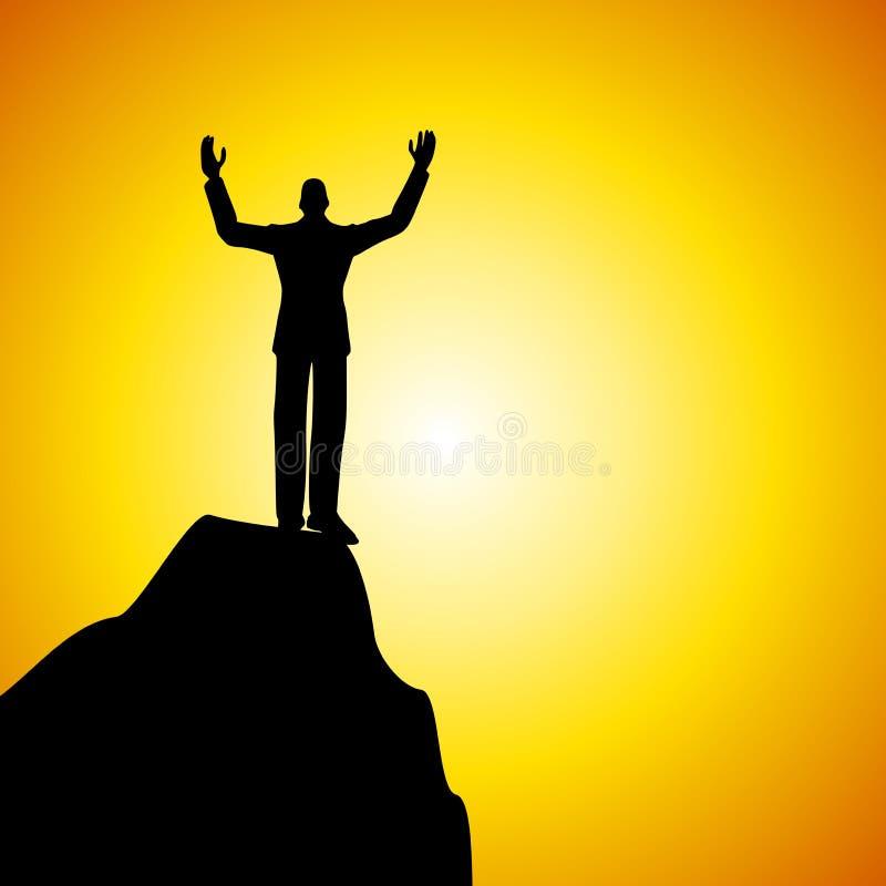 Roi de l'homme de côte restant sur la montagne illustration de vecteur