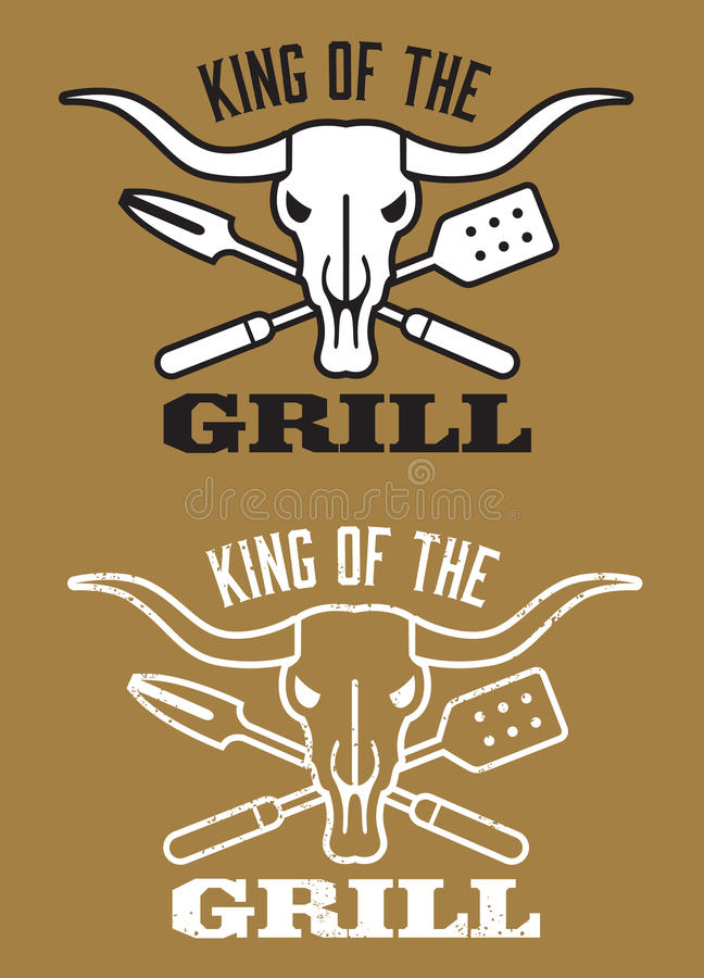 Roi de l'image de barbecue de gril avec le crâne de vache et les ustensiles croisés illustration libre de droits