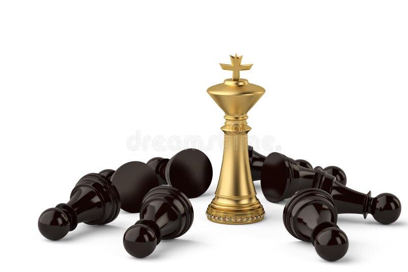 Roi de luxe d'or d'échecs et gages noirs sur le fond blanc 3d IL illustration de vecteur