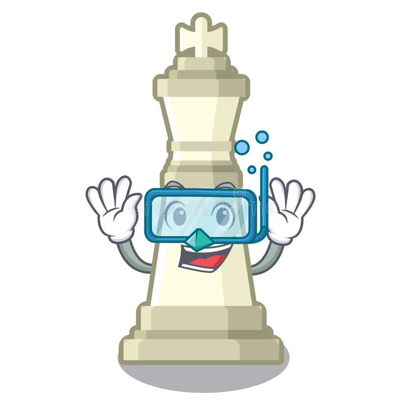 Roi de plongée d'échecs sur la mascotte illustration libre de droits