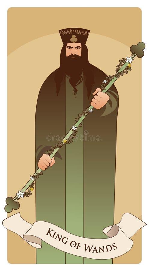 Roi des baguettes magiques avec la couronne et la minette symbolique, jugeant une tige entourée par une guirlande des feuilles et illustration stock