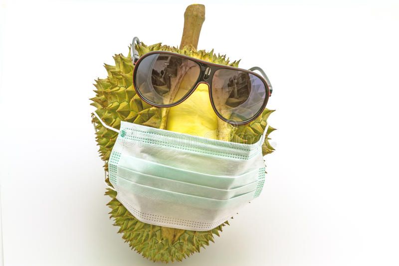 Roi des fruits, du masque de sourire et des sunglass o d'usage de durian photo stock