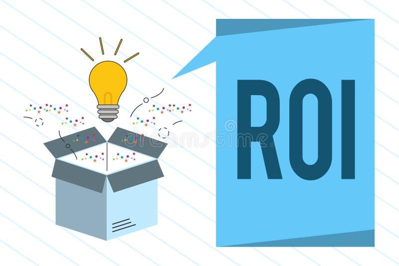 ROI des textes d'écriture de Word Concept d'affaires pour la mesure de représentation employée pour évaluer l'efficacité d'un inv illustration libre de droits