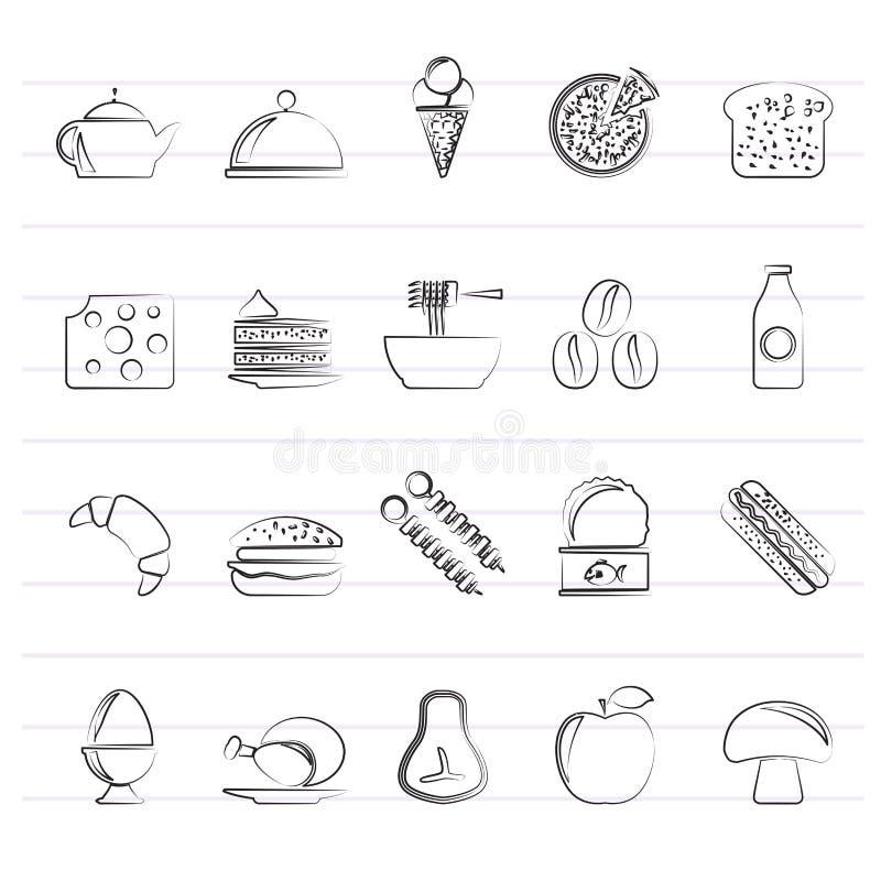 Roi différent des icônes 2 de nourriture et de boissons illustration libre de droits
