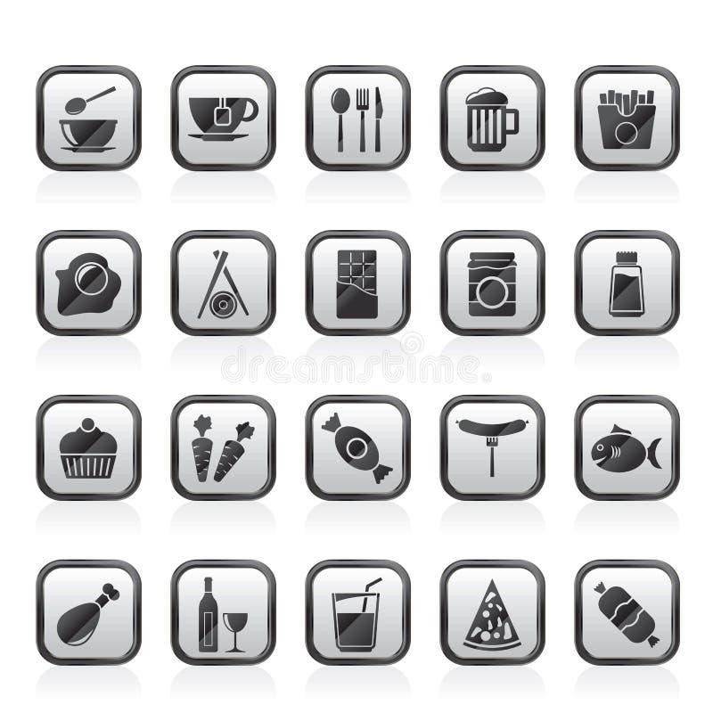 Roi différent des icônes 1 de nourriture et de boissons illustration libre de droits