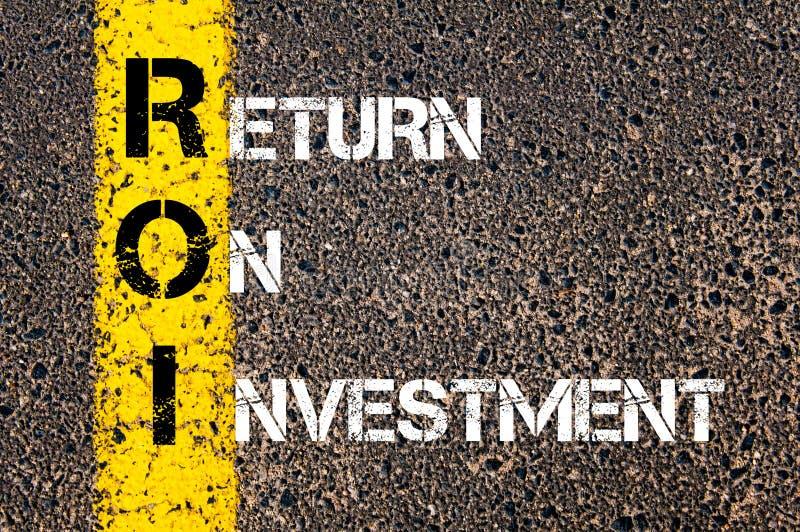 ROI do acrônimo - retorno sobre o investimento fotografia de stock royalty free