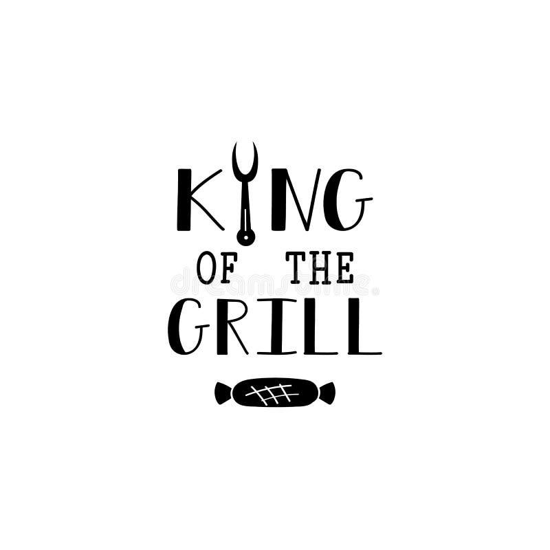 Roi du lettrage de gril avec la saucisse aux fourchettes illustration libre de droits