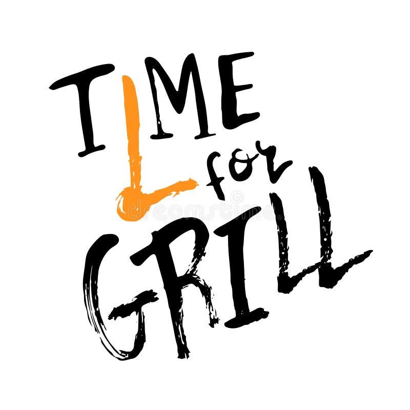 Roi du lettrage de gril avec la saucisse aux fourchettes citez à la carte de voeux de conception, affiche, bannière, l'art imprim illustration stock