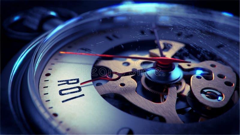 ROI en cara del reloj de bolsillo Mida el tiempo del concepto stock de ilustración