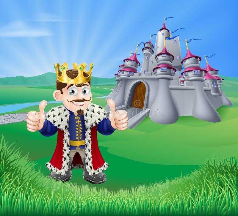 Roi et château de bande dessinée illustration libre de droits
