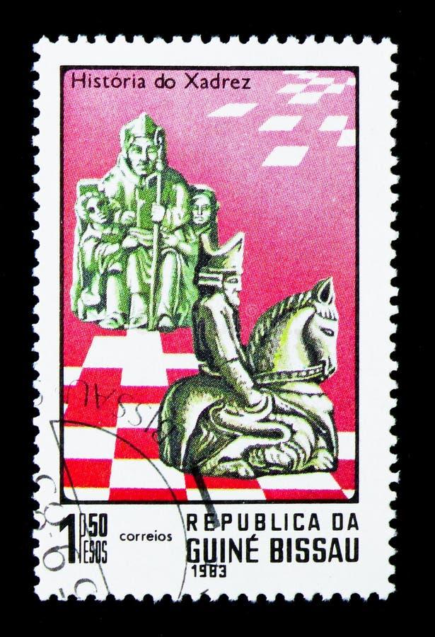 Roi et chevalier, histoire de serie d'échecs, vers 1983 photo libre de droits