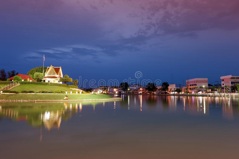 Roi Et City Pillar Shrine located on a small island in Bung Phalanchai Lake, Roi Et Province, northeastern Thailand.  royalty free stock images