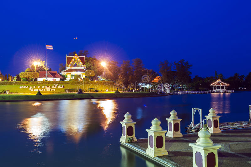 Roi Et City Pillar Shrine located on a small island in Bung Phalanchai Lake, Roi Et Province, northeastern Thailand.  royalty free stock photos
