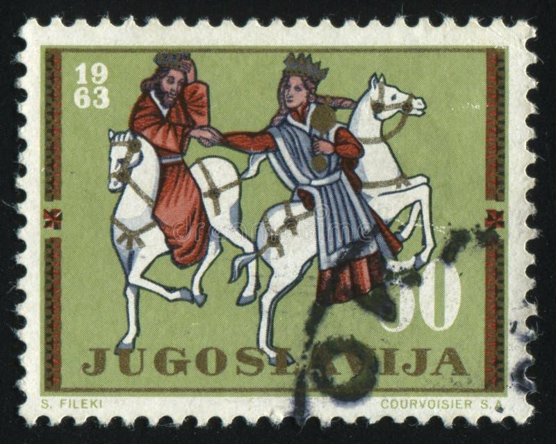 Roi et reine à cheval photos libres de droits