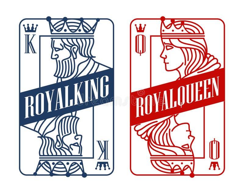 Roi et Reine jouant la carte illustration libre de droits